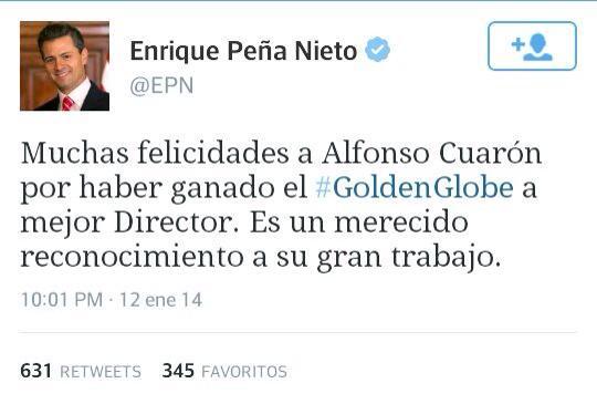 Enrique Peña Nieto felicita a Alfonso Cuarón por ganar Golden Globe como mejor director 2014