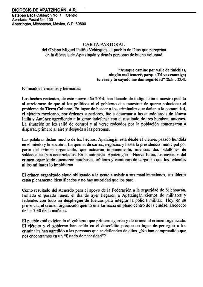 carta obispo de apatzingán
