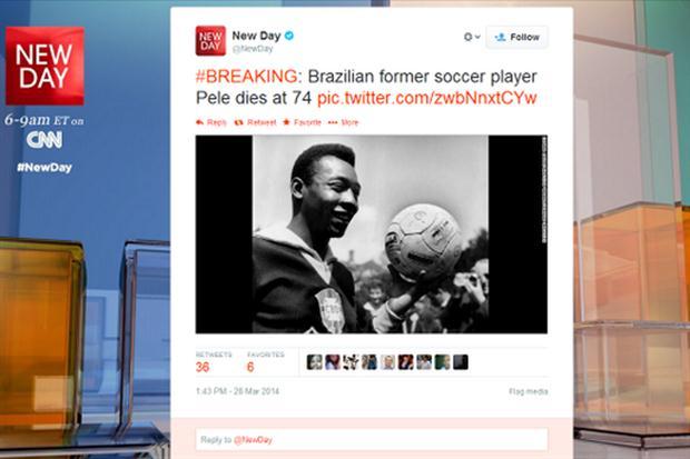anuncian muerte falsa de Pelé en Twitter