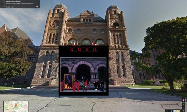 Google Street View portada de Moving Pictures de Rush