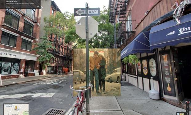 Google Street View portada de The Freewheelin' Bob Dylan de Bob Dylan