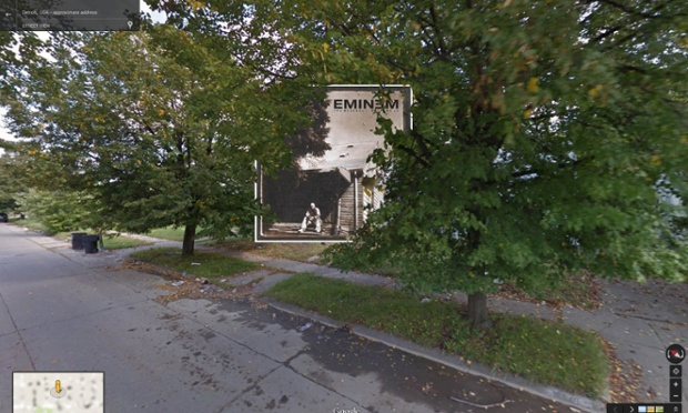 Google Street View portada de The Marshall Mathers LP de Eminem