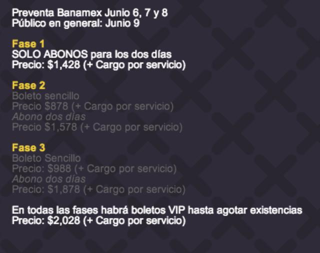 preventa precios Corona Capital 2014
