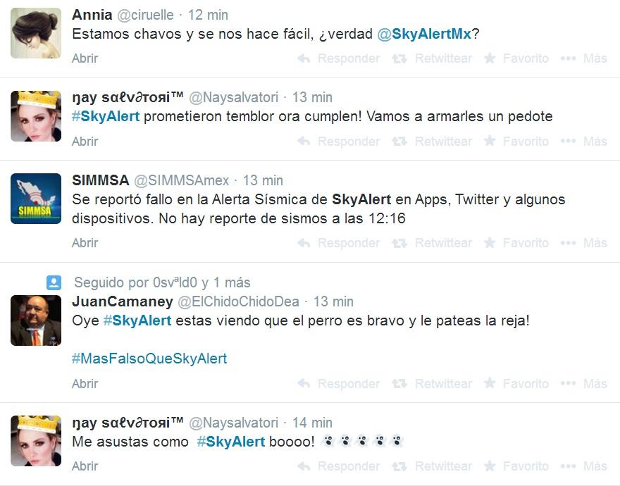 tuits falsa alerta sísmica SkyAlert