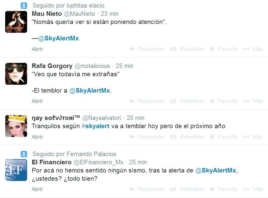 tuits falsa alerta sísmica SkyAlert2