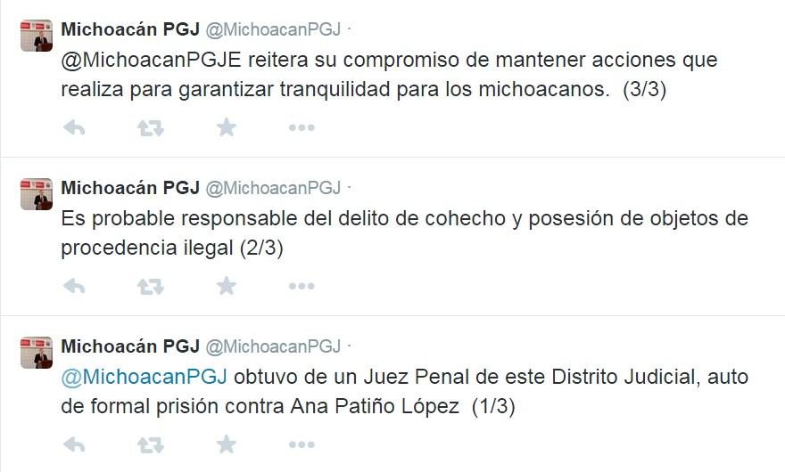 formal prisión a Ana Patiño, esposa de La Tuta