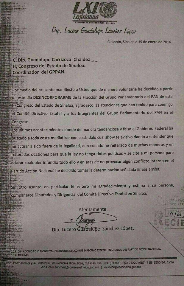 documento renuncia diputada Lucero Guadalupe Sanchez Lopez El Chapo