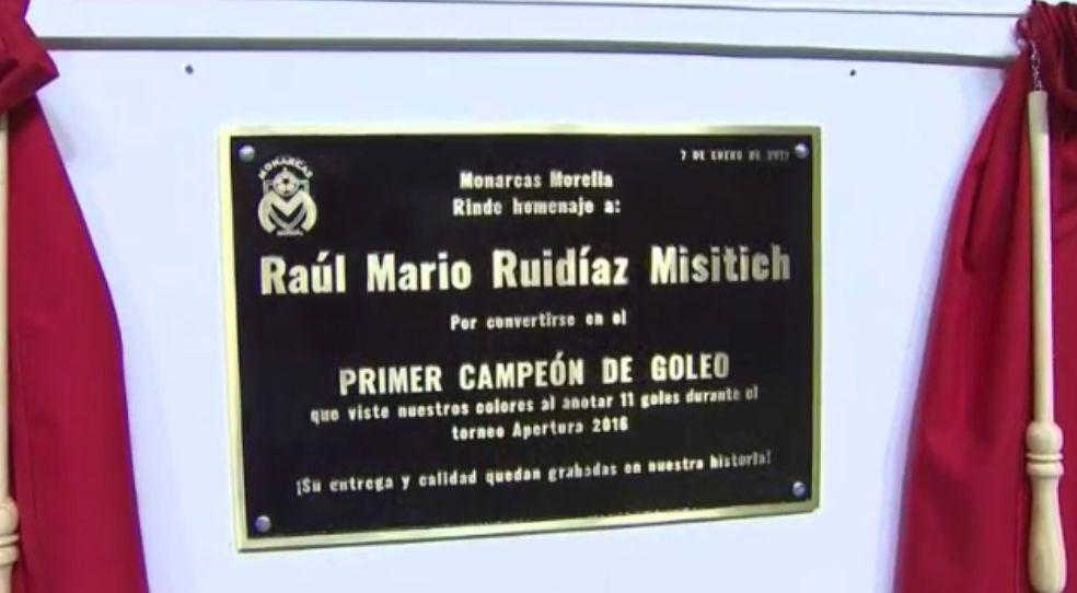 Placa campeon de goleo Raul Ruidiaz Monarcas Morelia