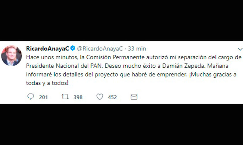 Photo of Ricardo Anaya Renuncia A Presidencia Del PAN Para Buscar Candidatura Del Frente