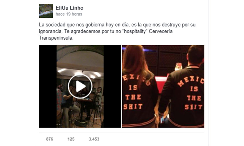 "Photo of Corren A Una Pareja Por Usar Chamarra ""Mexico Is The Shit"" En Restaurante (Video)"