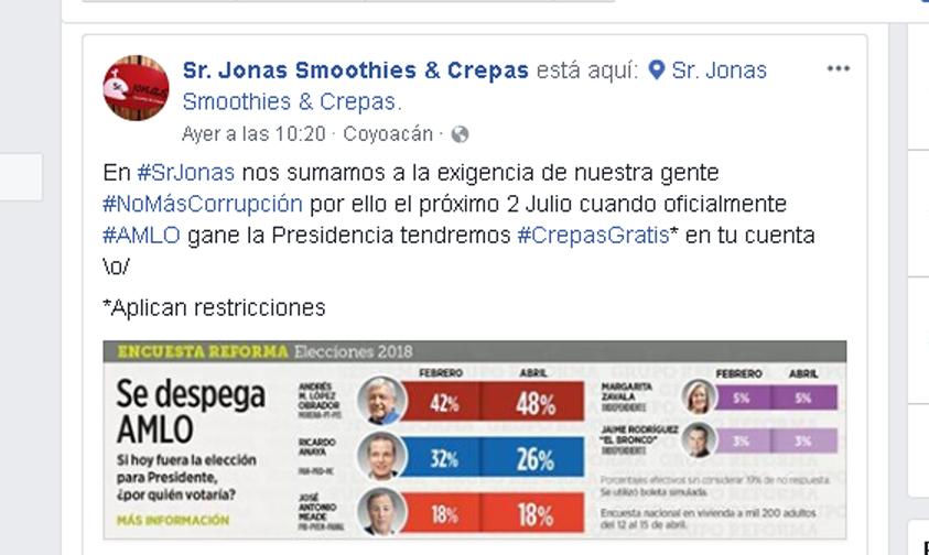 Photo of Crepas Gratis En Negocio De Coyoacán Si Gana AMLO Las Elecciones