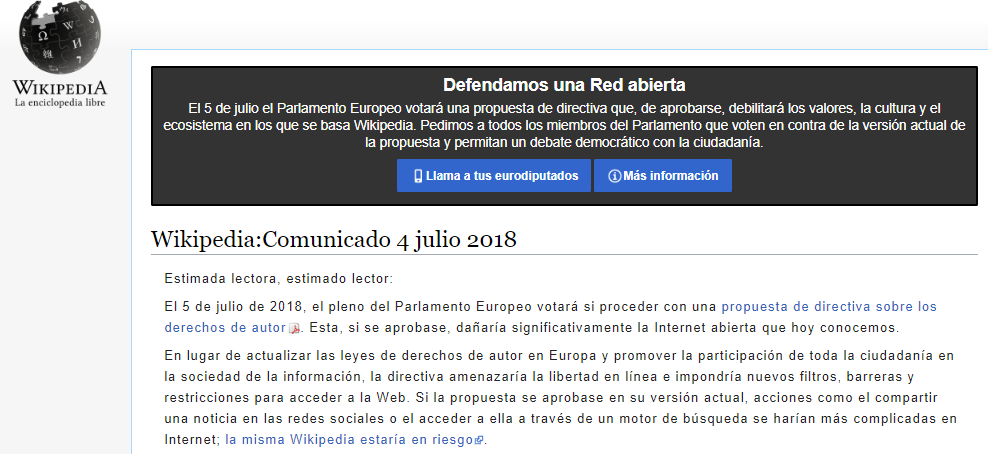 Photo of En Señal De Protesta Wikipedia Se Apaga Por 36 Horas