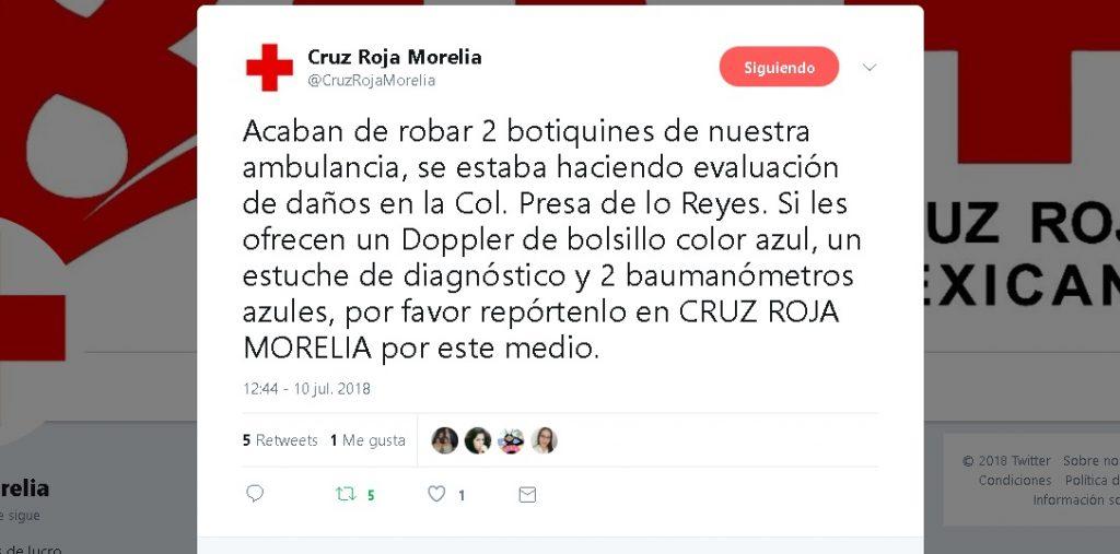 Photo of #Morelia Roban Equipo A La Cruz Roja Mientras Evaluaban Daño Por Lluvias
