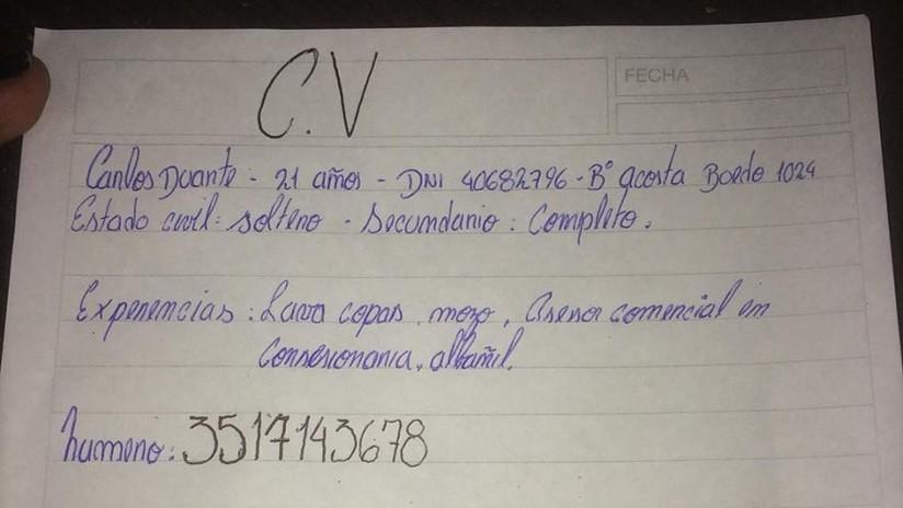 Photo of Conmueve Curriculum Hecho A Mano Por Un Desempleado