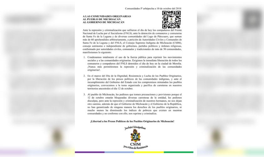 Photo of #Michoacán FNLS Condena Uso De Fuerza Pública Para Reprimir Movimientos Sociales