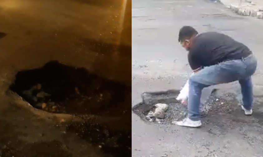 Photo of #Video Moreliano Arregla Mega Cráter Con Su Propio Varo