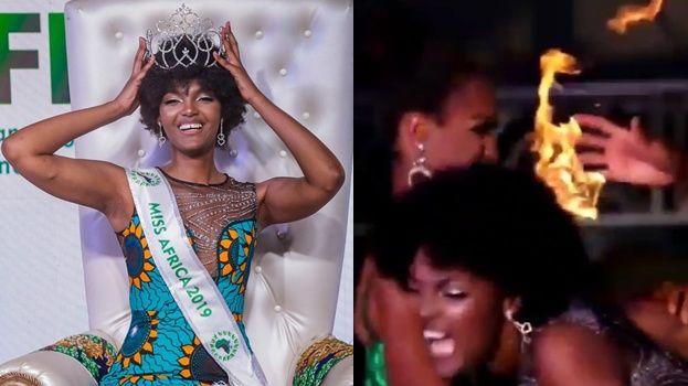 Photo of #Video En Pleno Escenario Cabello De Miss África Se Incendia