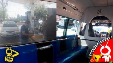 Photo of #Denúnciamesta Chofer de combi verde va a cargar gasolina con pasaje arriba