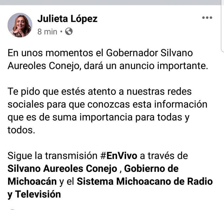 Julieta López invitó a la ciudadanía a seguir la rueda de prensa a través de redes sociales