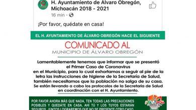 Photo of #Michoacán Ayuntamiento Informa 1er. Caso Confirmado De Covid-19 En Álvaro Obregón