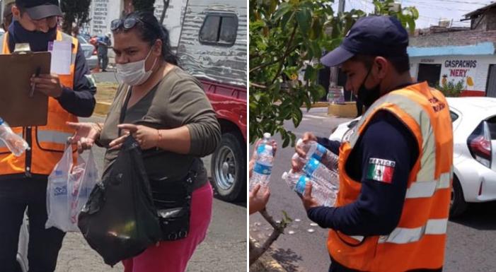 Morelianos Regalan Botellas De Agua A Policías Que Trabajan En Filtros Sanitarios