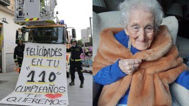 Photo of Bombero Poner Enorme Letrero Para Celebrar 110 Años De Su Abuela
