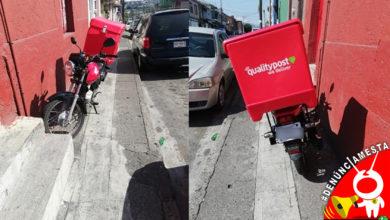 Photo of #Denúnciamesta Moreliano se agandalla la banqueta pa' estacionar su moto