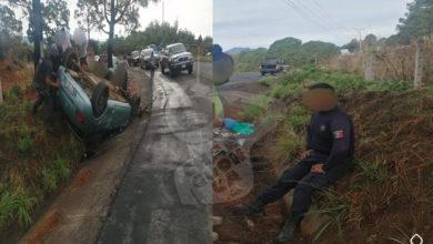 #Michoacán Poli Resulta Herido En Accidente Vial