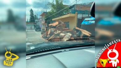 #Denúnciamesta Vecino tiene invadida la calle con shingo de troncos