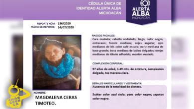 Photo of Piden Apoyo Para Localizar A Abuelita Michoacana De 97 Años, Está Desaparecida