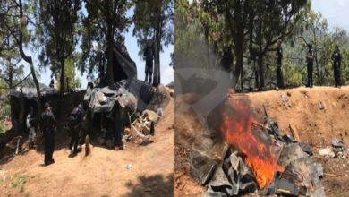 #Michoacán SSP Y GN Destruyen Narcocampamento