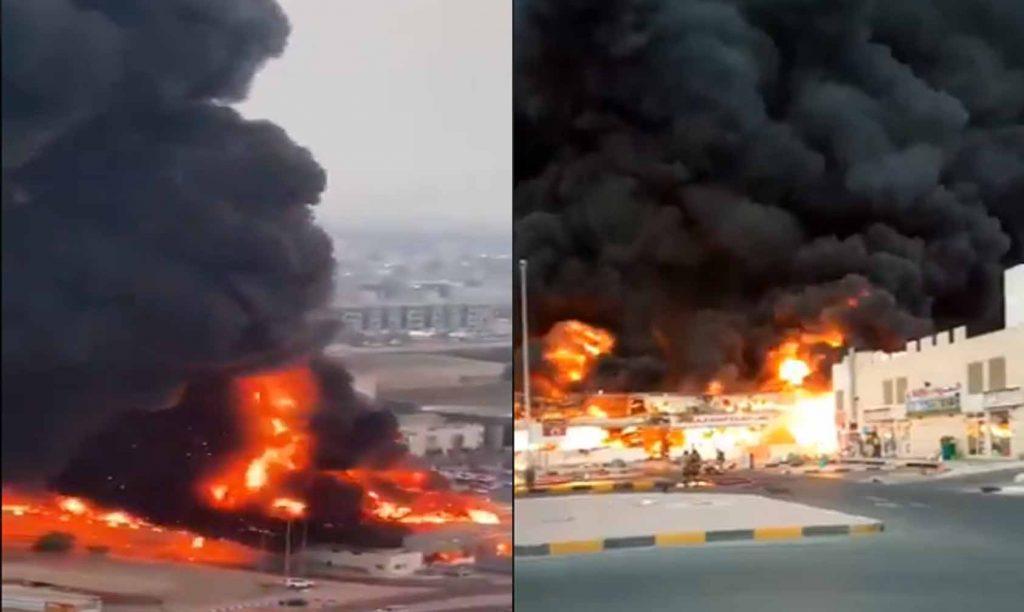 #Video Reportan Mega Incendio En Mércado De Emiratos Árabes Unidos