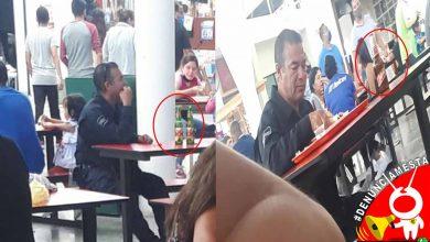 #Denúnciamesta Captan a policía uniformado pisteando agusto