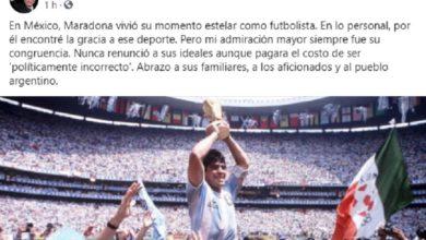 Photo of AMLO Emite Condolencias Por Muerte De Maradona: Lo Admiré Por Su Congruencia