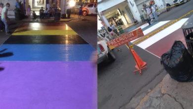 Photo of En Apatzingán Pintan Paso Peatonal Con Bandera Gay Pero Acusan Al Ayuntamiento De Borrarlo