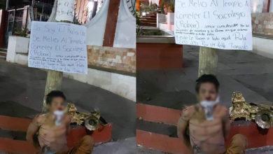 Photo of #Michoacán Golpean Y Amarran A Ladrón Que Se Iba A Robar Al Santísimo De La Iglesia