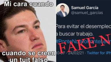 """Photo of """"Para Evitar Desempleo Hay Que Buscar Trabajo"""", Tunden A Samuel García Por Tuit FAKE"""