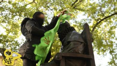 Photo of #Morelia Feministas Colocan Mandiles Verdes Y Pañuelos Morados A Monumentos